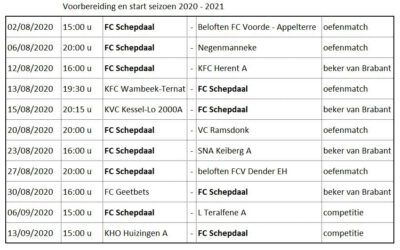 Start seizoen 2020-2021
